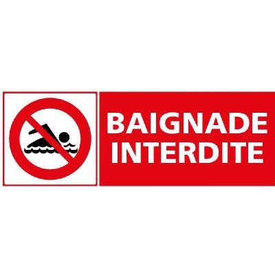 200 - Panneau Baignade Interdite 35cm x 12,5cm     #1
