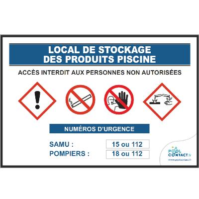 127 - Panneau Local Stockage Produits Piscine 30cm x 20cm