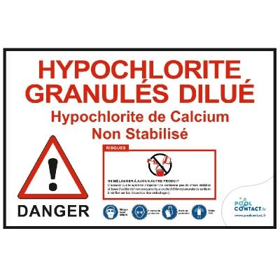 Affiche autocollante Hypochlorite Granulés dilué 29,7cm x 21cm