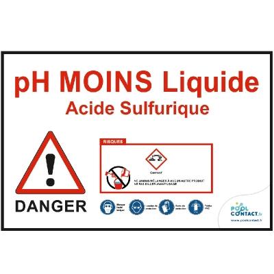 Affiche autocollante pH Moins liquide-Acide Sulfurique 29,7cm x 21cm