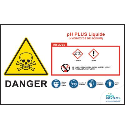 Affiche autocollante pH Plus liquide  29,7cm x 21cm         #1