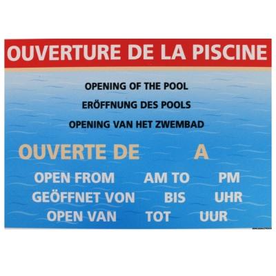 196 -             Panneau Horaires ouverture de la piscine 21cm x 15cm             #1