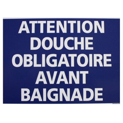 199 -             Panneau Douche obligatoire  21cm x 15cm                #1