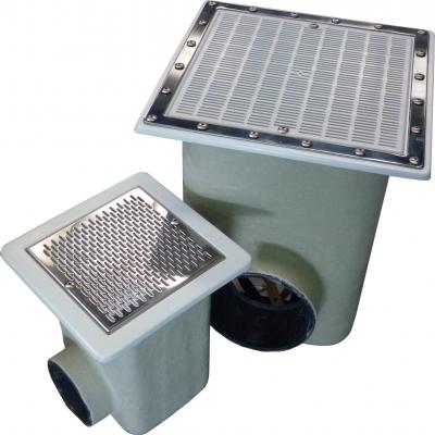 Bonde de fond inox normalisée dimensions  330x330mm ou 515x515mm - pour piscine liner